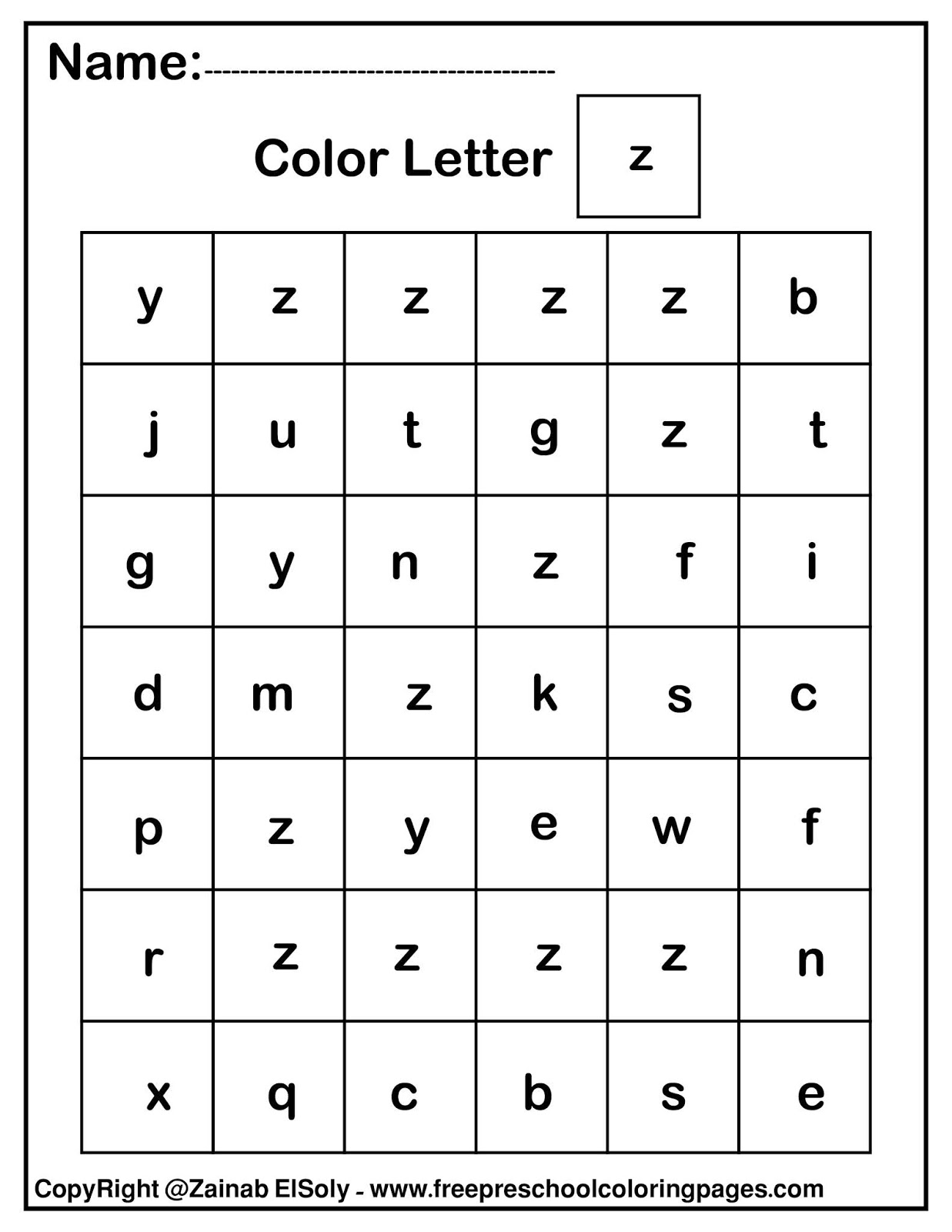 Set Of Color By Letter Abc Free Preschool Coloring Pages