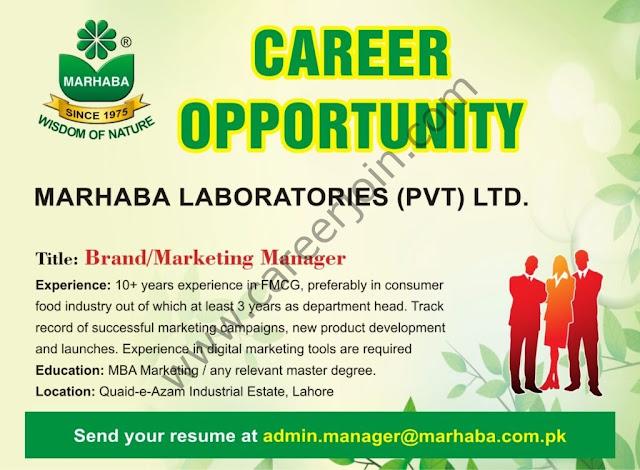 Marhaba Laboratories Pvt Ltd Jobs Brand/Marketing Manager
