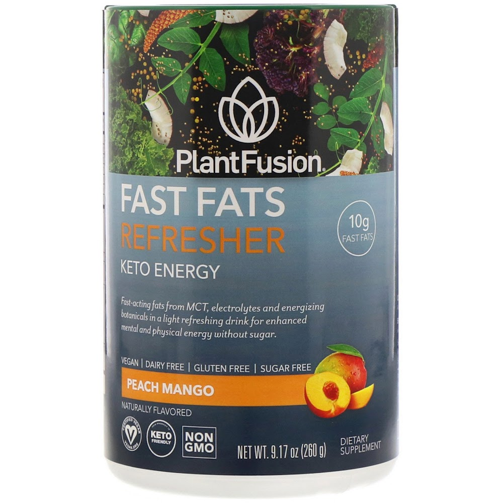PlantFusion, Fast Fats, освежающая добавка, для людей, соблюдающих кетодиету, персик и манго, 260 г