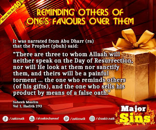 MAJOR SIN. 40.2. REMINDING OTHERS OF ONE'S FAVOURS OVER THEM