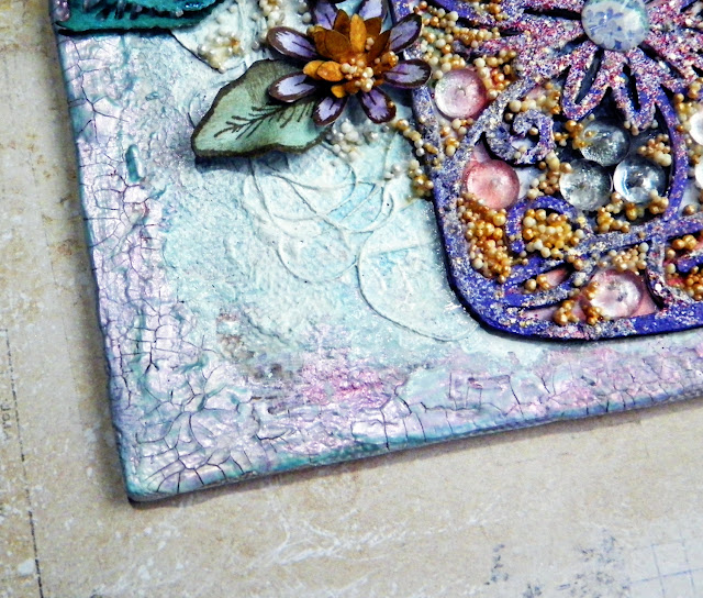 Mixed Media Floral Canvas by Lisa Novogrodski for Scraps of Elegance using the July Sunshine and Sweet Tea Kit