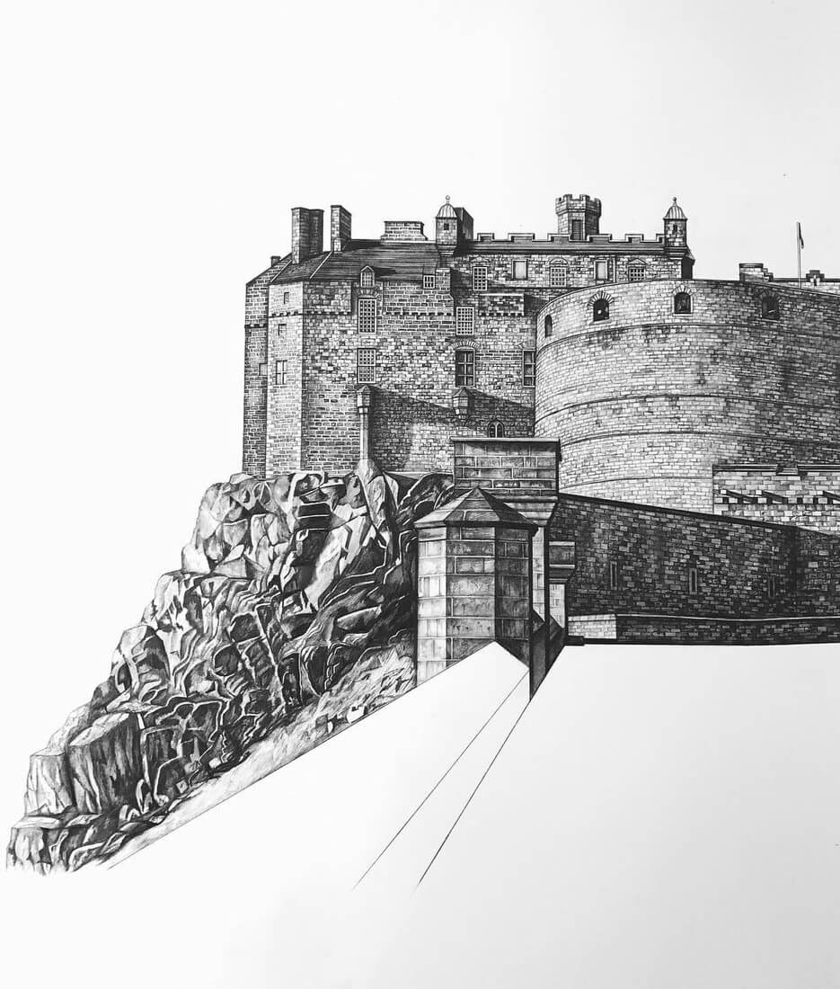 04-Edinburgh-Castle-Minty-Sainsbury-Traditional-Architecture-Drawings-in-Pencil-www-designstack-co