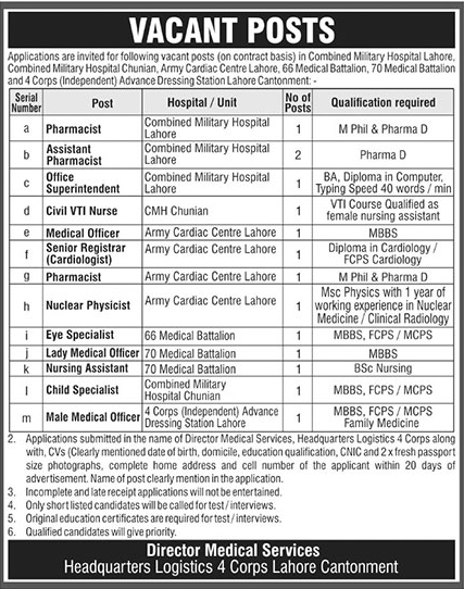 Combined Military Hospital CMH Jobs 2019 May