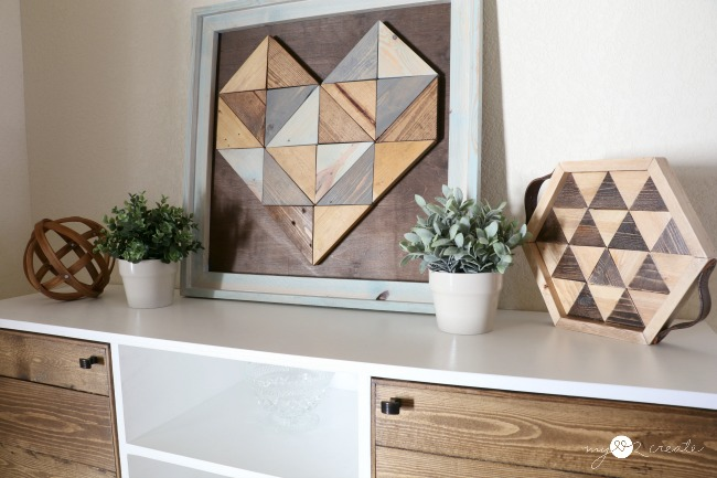 decorating with geometric wood art