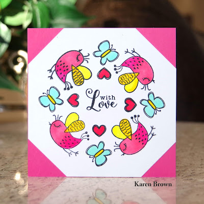 Handmade card featuring butterflies and hearts from Inkblot Shop's This & That Stamp set.