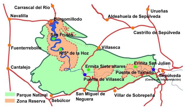 mapa Parque Natural Hoces del Duratón
