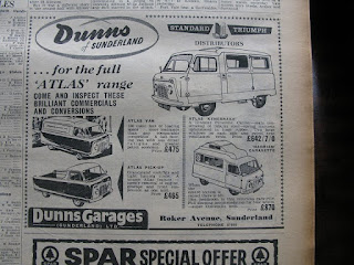 Dunns Garages (Sunderland) Ltd Atlas advert the Sunderland Echo 1958
