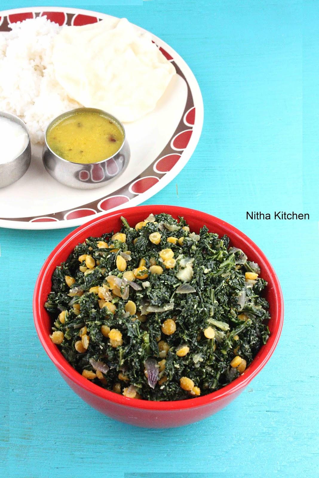 Kale Stir Fry | Keerai Paruppu Poriyal - Nitha Kitchen