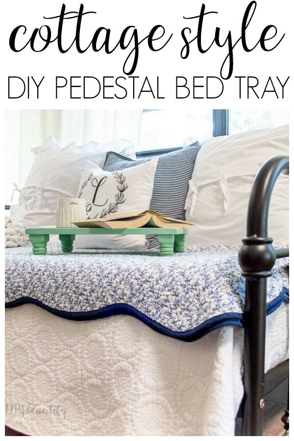 DIY pedestal bed tray on cozy daybed