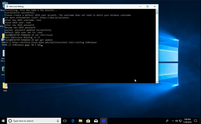 تحميل وتثبيت توزيعة كالي لينكس لويندوز 10 من متجر مايكروسوفت Kali Linux