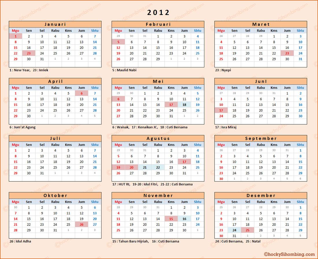 Kalender Tahun 2012 Lengkap