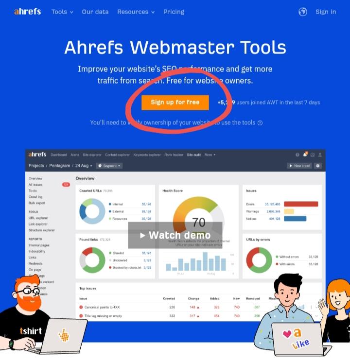 Cara daftar ahrefs webmaster tools gratis
