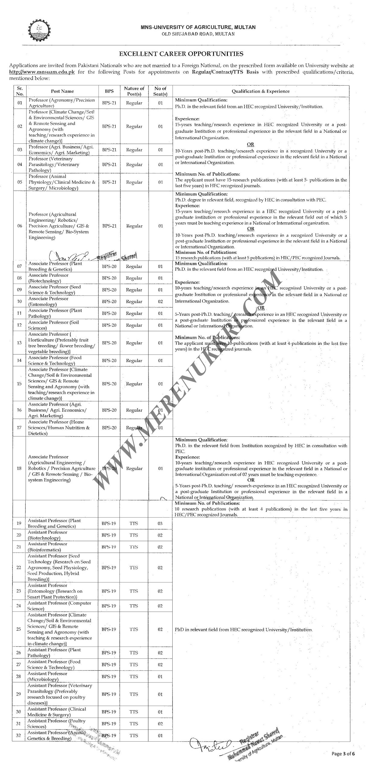 Latest Jobs in MNSUAM | Muhammad Nawaz Shareef University of Agriculture, Multan | Download Application Form