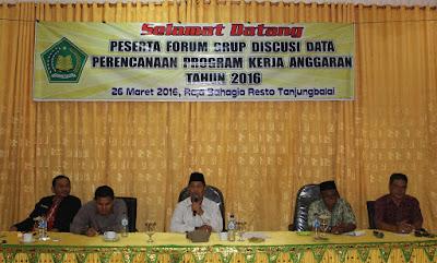 Kemenag Tanjungbalai Laksanakan Pembinaan Forum Grup Diskusi Program Kerja Anggaran Tahun 2016