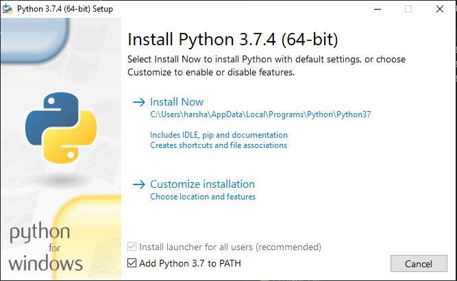 install python step 1
