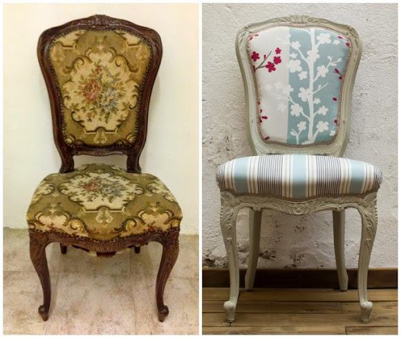 Antes y después- silla Luis XV renovada y tapizada - Studio Alis