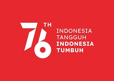 Logo Resmi HUT RI ke-76 2021 Background Merah Dengan Tagline JPG