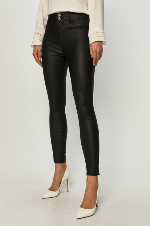 Pantaloni femei negri imitatie de piele eleganti