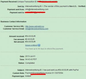 Eroadvertising Payment proof