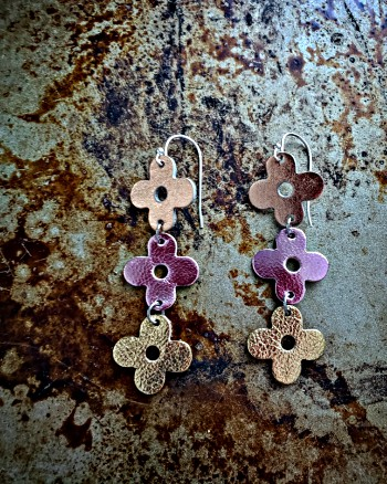 Earrings, Flowers, Accessories, Leather, Sterling silver, gifts, teen gifts, tween gifts, dainty