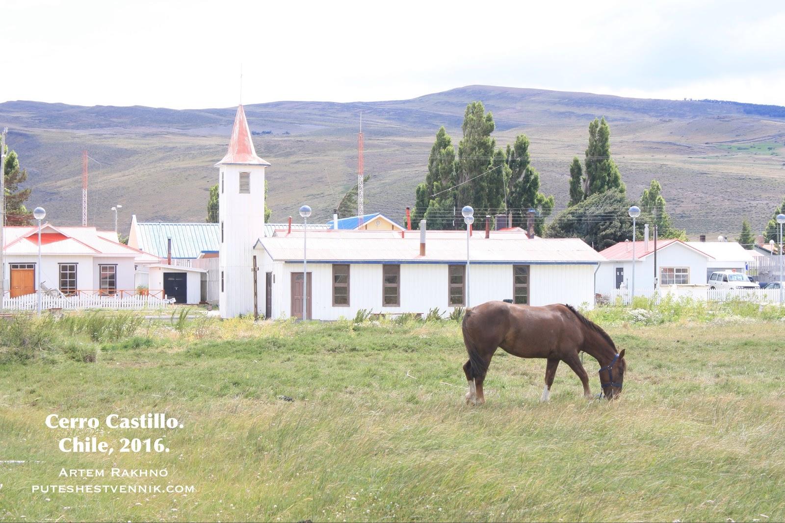 Лошадь пасется посреди деревни