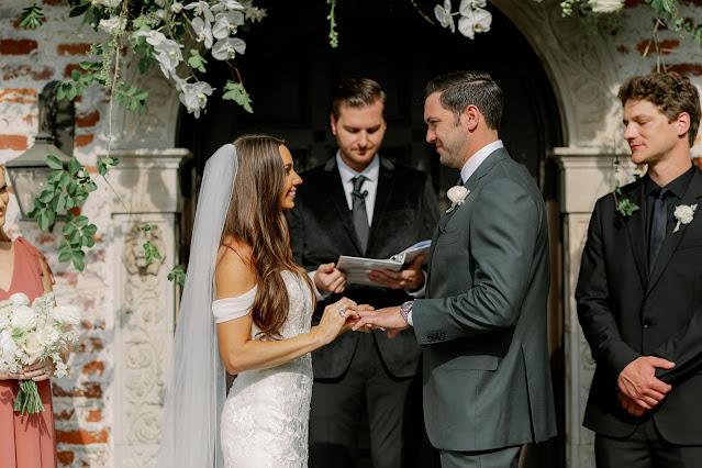 bride and groom during ceremony at Casa Feliz