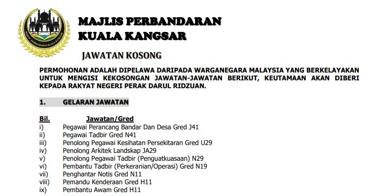 Jawatan Kosong Di Majlis Perbandaran Kuala Kangsar Jobcari Com Jawatan Kosong Terkini