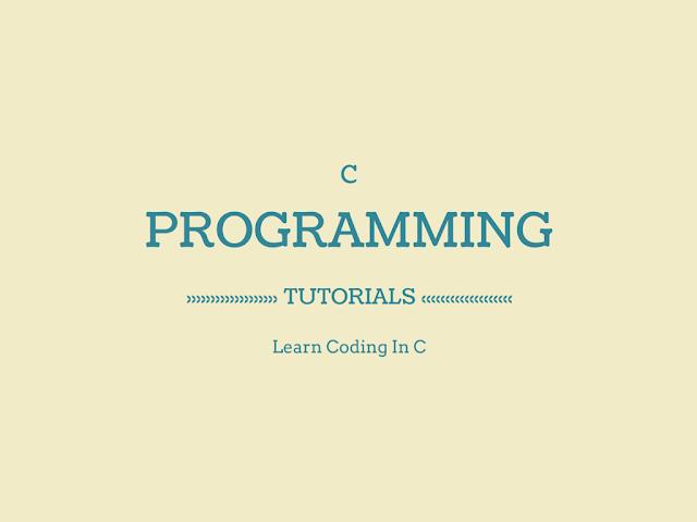 C Programming Tutorials Pdf