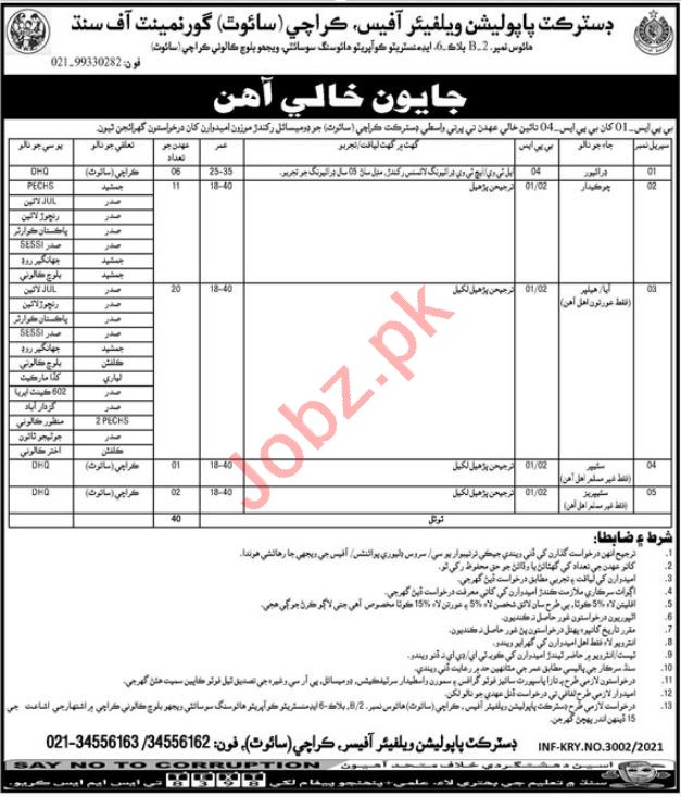 Population Welfare Department Karachi South Jobs 2021