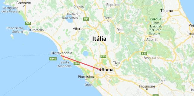 Mapa da viagem de Roma a Civitavecchia