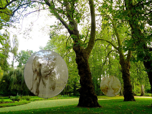 Da Vinci's sketches in the gardens of the Clos Lucé, Amboise, France
