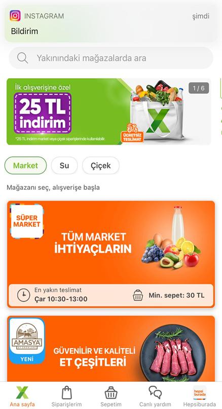 Hepsiburada Market Alışverişi 25 TL Kazanma İlk Alışveriş 2021