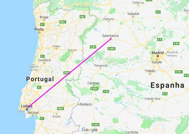 Mapa da viagem de trem de Lisboa a Salamanca