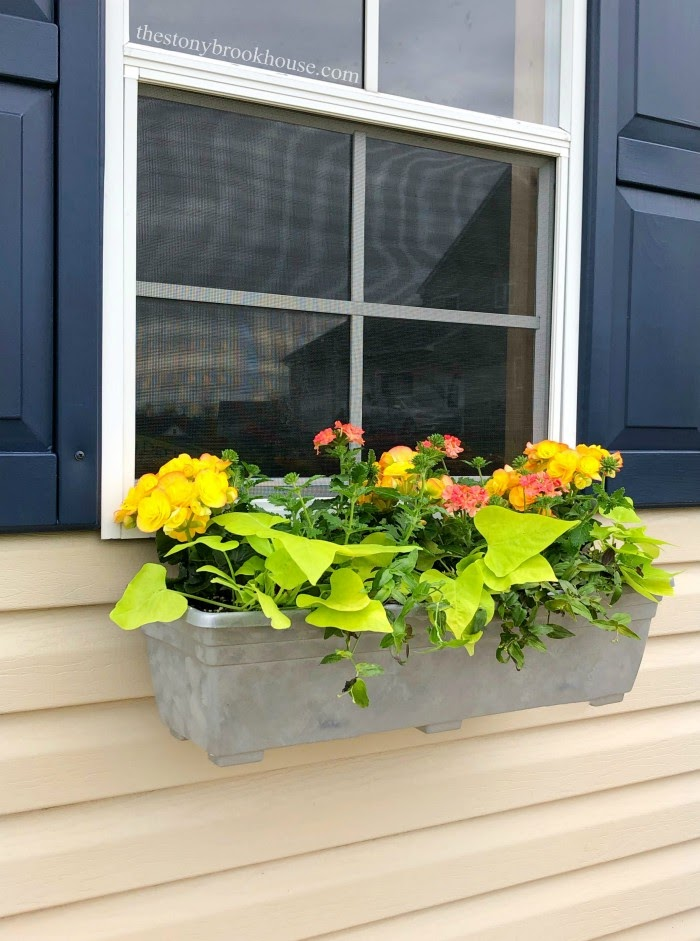 Faux metal painted window boxes