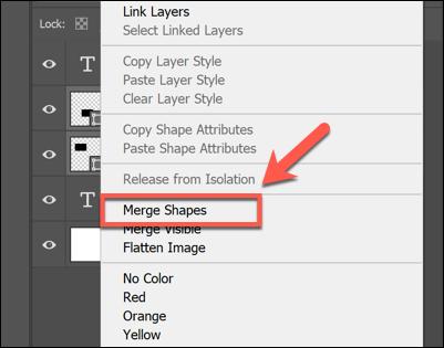انقر بزر الماوس الأيمن فوق الطبقات المحددة وانقر فوق دمج الأشكال أو دمج الطبقات لدمجها في Photoshop