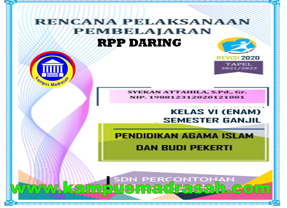 Contoh RPP Daring 1 Lembar Mapel PAI dan BP