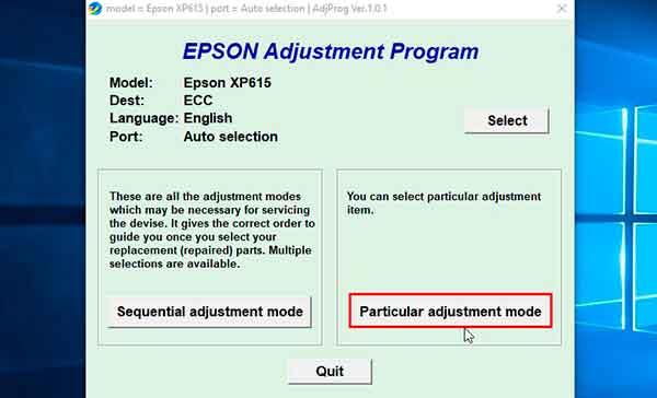 Reset Epson XP-615 error message