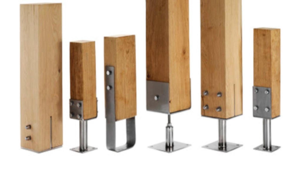 tipos de postes de madera con anclajes al suelo