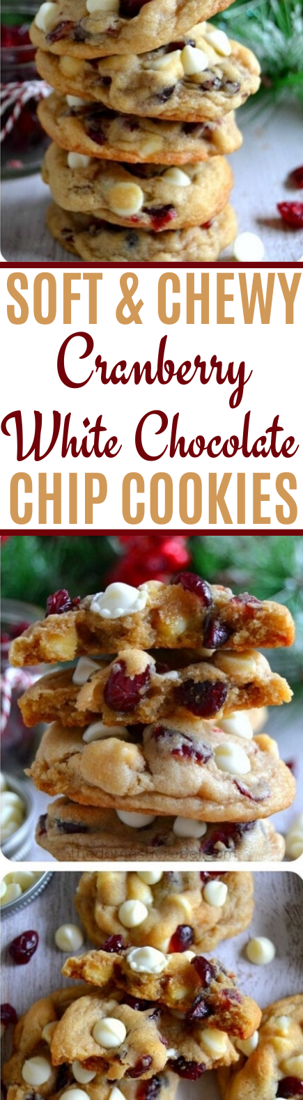 The BEST Soft &  Chewy Cranberry White Chocolate Chip Cookies #christmas #cookies #recipes #baking #desserts