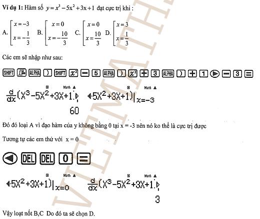 dạng toán về trắc nghiệm cực trị hàm số có đáp án 2017