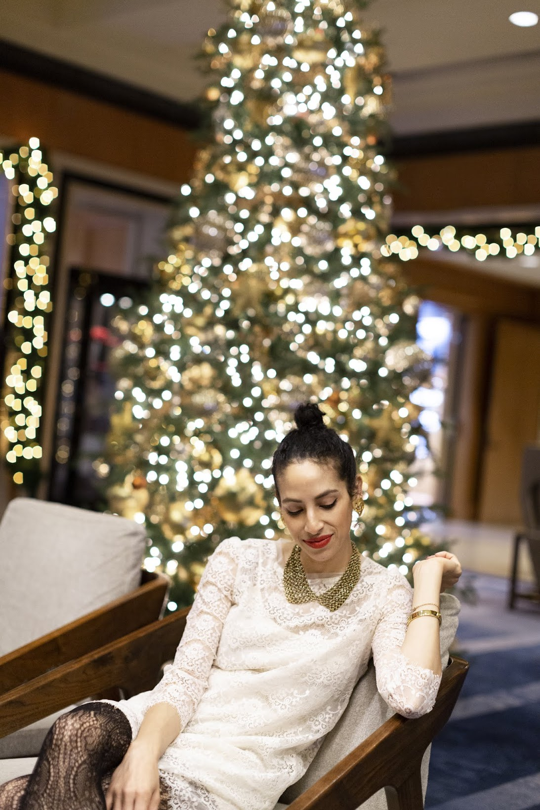 holiday style, white Christmas, San Francisco, Four Seasons hotel, lace tights, vintage Chanel earrings,