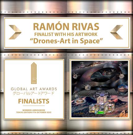 """Ramón Rivas, Finalista en los Premios de Arte Mundiales 2021, junto a su obra """"Drones Art in Space"""""""