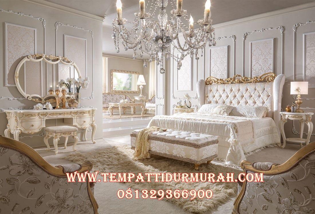 Set Kamar Tidur Putih Duco kombinasi Gold