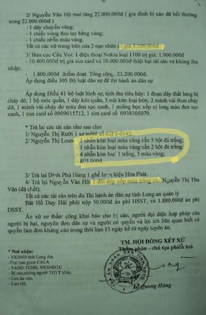 Vì sao thu 4 chiếc nhẫn của em gái Hồ Duy Hải để làm tang vật?