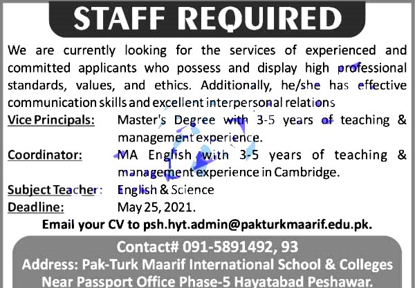 Latest Jobs in Pak Turk International School And College May 2021