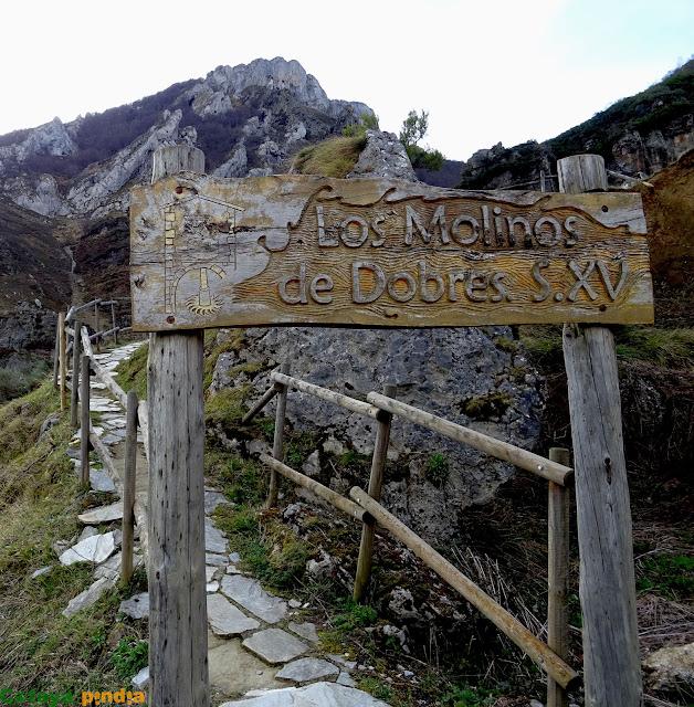 Entrada para visitar los Molinos de Dobres en Cucayo