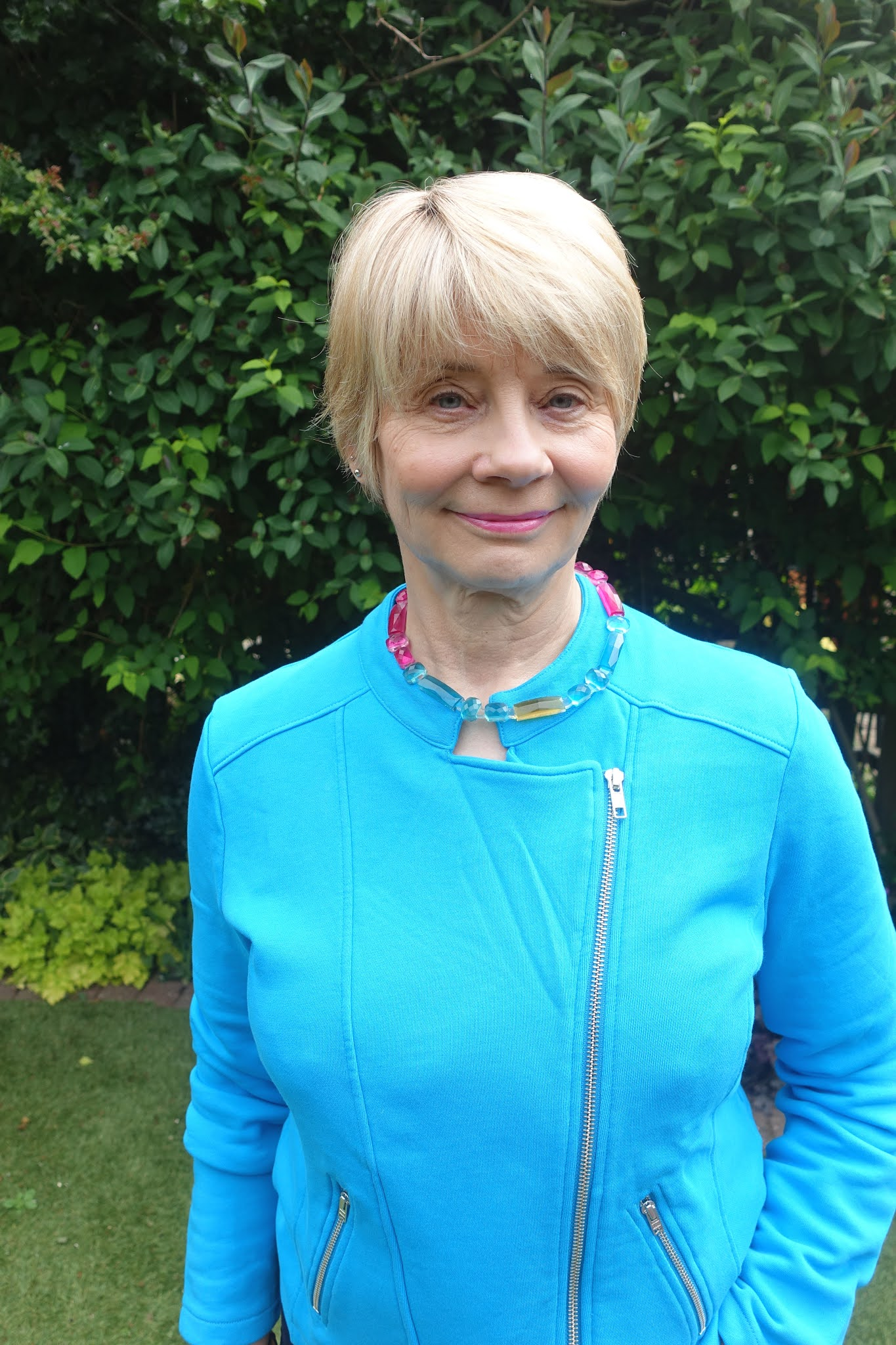 Kettlewell's Blue Jewel Chloe jacket worn by blogger Gail Hanlon from Is This Mutton