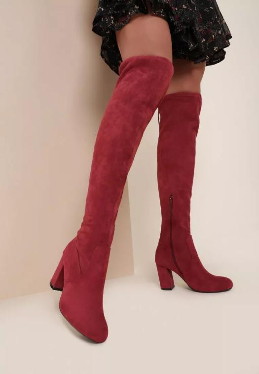 Cizme elegante grena peste genunchi lungi cu toc mic