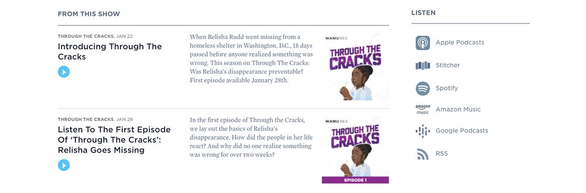 website podcast example: Through the Cracks