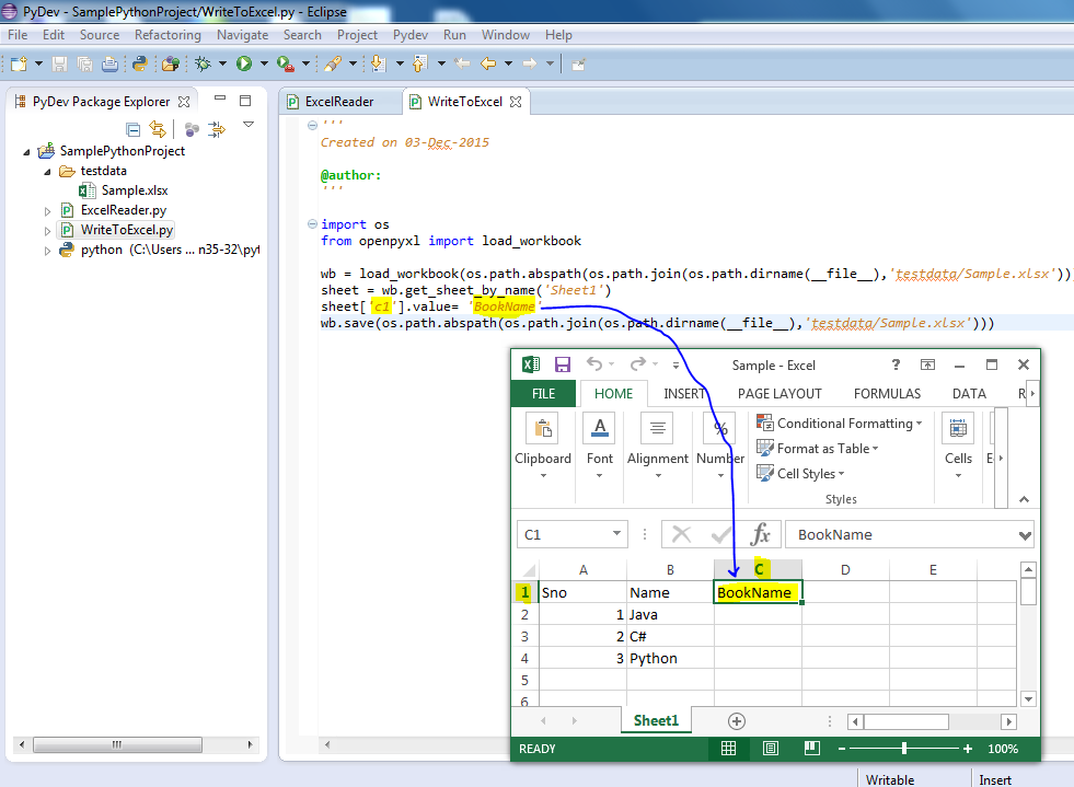 Python - Write value to excel sheet using 'openpyxl' library